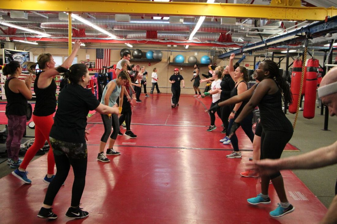 Women's group fitness Class at Bancroft Boxing and fitness Club in Framingham Ma,